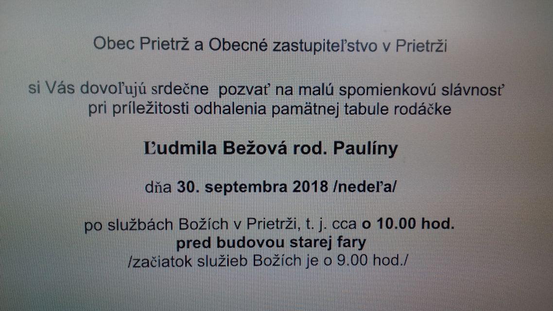 Odhalenie pamätnej tabule Ľ. Bežovej